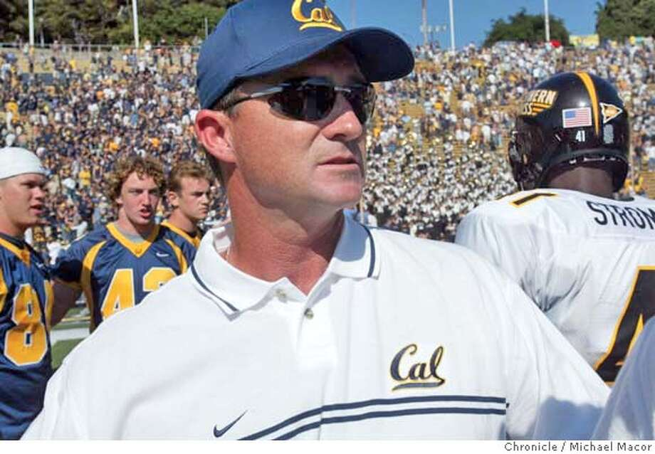 cal020_mac.jpg California head coach Jeff Tedford came away with a 34-2 victory in the season opener. California Berkeley Football season opener against Southern Mississippi. Cal Memorial Stadium.  8/30/03 in Berkeley. MICHAEL MACOR / The Chronicle  ALSO RAN: 1/13/2004  Jeff Tedford will have most of his team back after an 8-6 season. Jeff Tedford will have most of his team back after an 8-6 season. ProductNameChronicle ProductNameChronicle ProductNameChronicle MANDATORY CREDIT FOR PHOTOG AND SF CHRONICLE/ -MAGS OUT Photo: MICHAEL MACOR