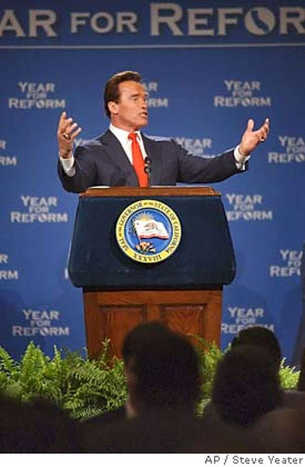 "California Governor Arnold Schwarzenegger speaks to delegates at the California Republican Convention in Sacramento, Calif., on Friday, Feb. , 2005. Calling the upcoming special election a ""great battle,"" Schwarzenegger promised a victory over unions, special interests and Democrats.(AP Photo/Steve Yeater) Photo: STEVE YEATER"