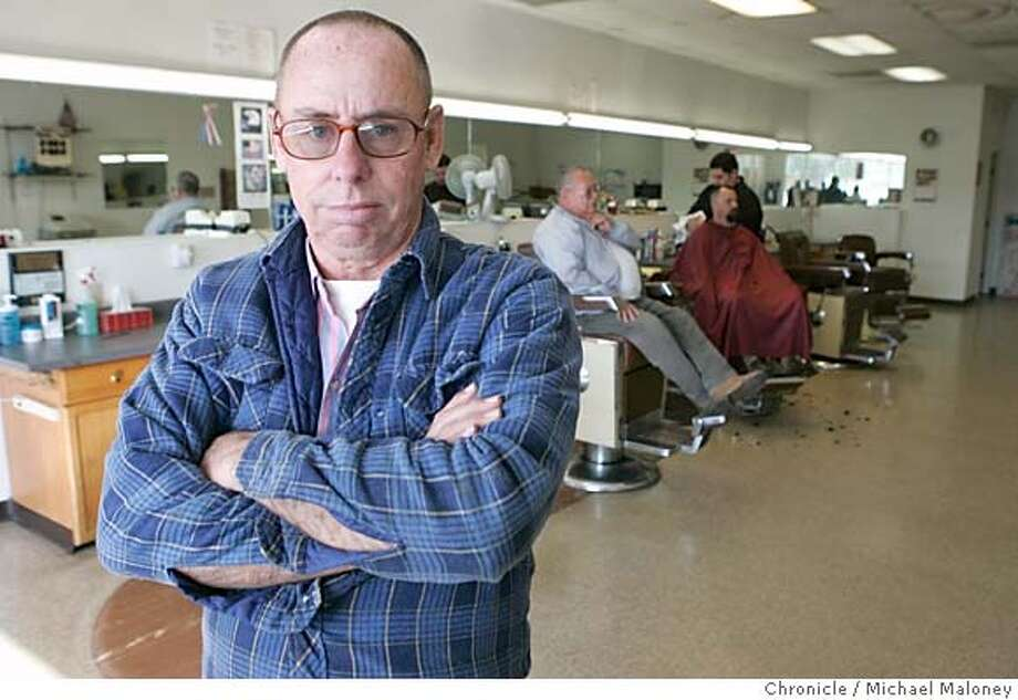 Clinton Pigg in his Visalia barber shop.  Governor Schwarzenegger is proposing the elimination of 88 state boards and committees under the auspices of a government streamlining program. Clinton Pigg, owner of a barbershop in Visalia is no fan of the current system but the alternative sounds worse to him. Pigg owns The Barber Shop in Visalia.  Photo by Michael Maloney / San Francisco Chronicle Photo: Michael Maloney
