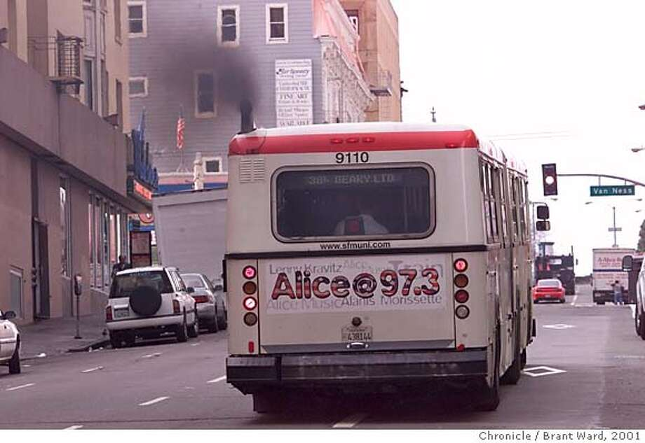 DIESEL1-17DEC01-MT-BW--A Geary Blvd. bus moved up the street from Van Ness spewing black smoke. The San Francisco Muni still relies on diesel buses while other municipalities have gone to other fuel sources. By Brant Ward/Chronicle CAT Metro#Metro#Chronicle#2/14/2005#ALL#5star##421806251 Ran on: 02-14-2005  A Muni bus spews black smoke as it travels along Geary Boulevard. Proposition I, passed by voters last year, requires the transit agency to replace the polluting buses. Photo: BRANT WARD