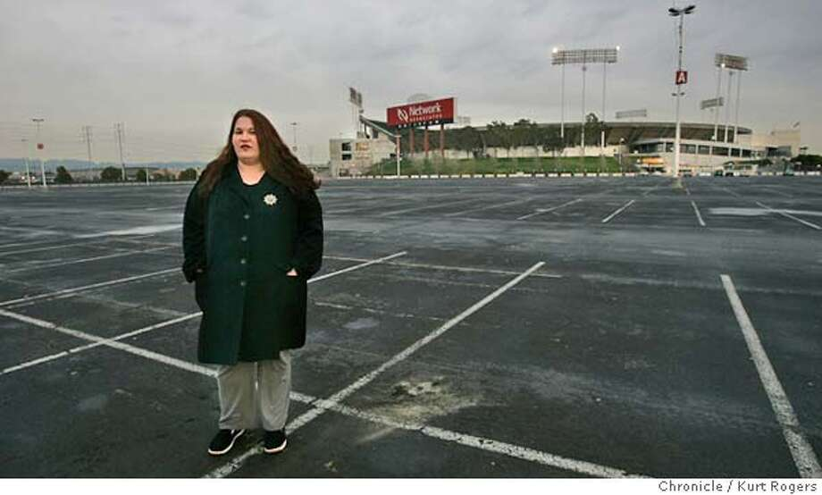 Jennifer Medeiros the Oakland Athletics Fan Coalition co-chair in the parking lot of the Network Associates coliseum in Oakland.  BALLPARK12_0024_kr.JPG 2/11/05 in Oakland,CA.  KURT ROGERS/THE CHRONICLE MANDATORY CREDIT FOR PHOTOG AND SF CHRONICLE/ -MAGS OUT Photo: KURT ROGERS