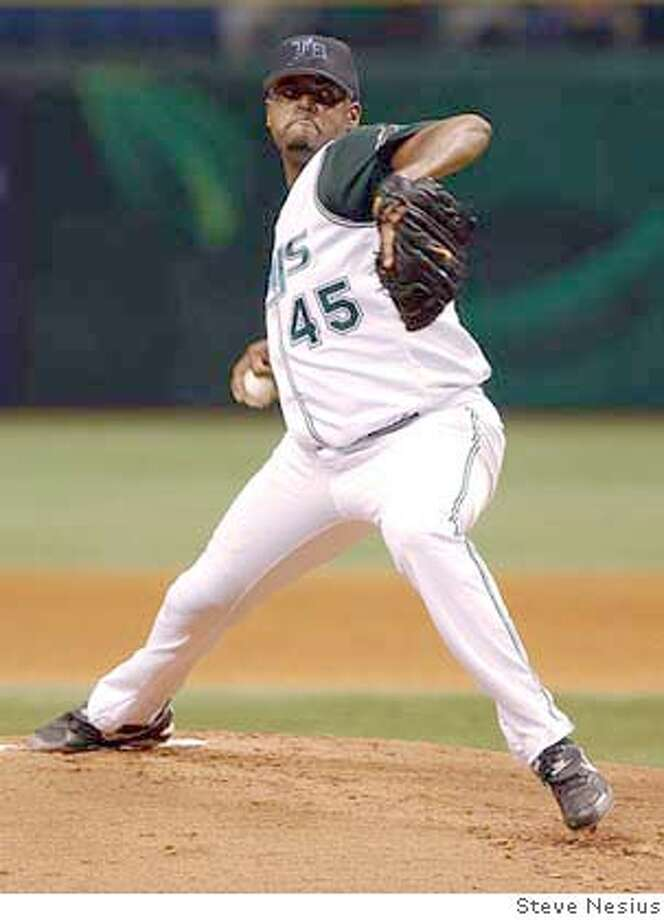 Tampa Bay Devil Rays starter Dewon Brazelton pitches against the Oakland Athletics during the first inning Sunday afternoon, Aug. 22, 2004 at Tropicana Field in St. Petersburg, Fla. Brazelton allowed one run as the Devil Rays defeated the Athletics 2-1. (AP Photo/Steve Nesius) Photo: STEVE NESIUS