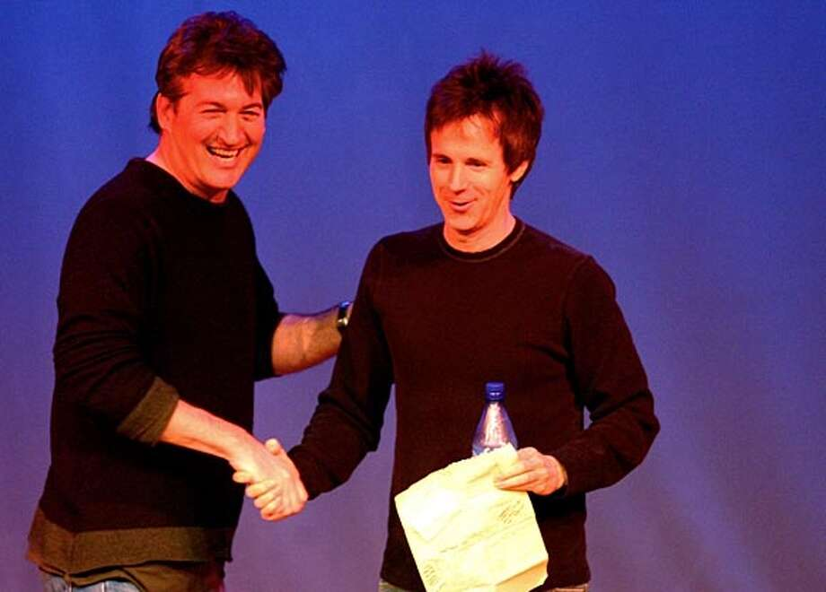 """Mark Pitta�, left, and�Dana Carvey�onstage at 142 Throckmorton in Mill Valley at Pitta's show """"Mark Pitta and Friends Comedy Tuesdays."""""""
