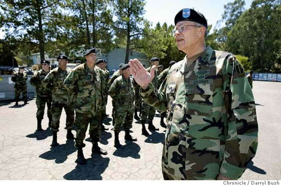 Major General Robert Ostenberg commander of the 63rd Regional Readiness Command of the U.S. Army Reserve talks to several platoons of the 483rd Transportation Battalian at Mare Island, as they prepare for depoyment to the OIF Theater. 8/4/04 in Vallejo  Darryl Bush / The Chronicle Photo: Darryl Bush