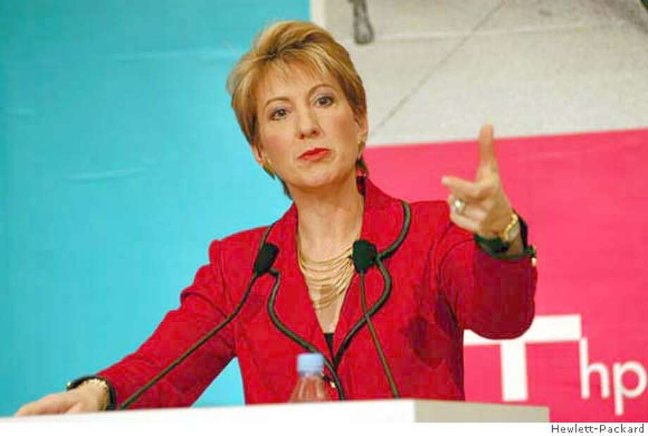Carly Fiorina, chairman and CEO of the Hewlett-Packard Company, gestures during a promotional event in Shanghai March 10, 2004. Hewlett-Packard Co expects to become the second-or third-largest player in China's booming personal computer and laptop markets by 2008, a senior company executive said on Wednesday. FOR EDITORIAL USE ONLY REUTERS/HP-Handout Fiorina 0 Photo: HO