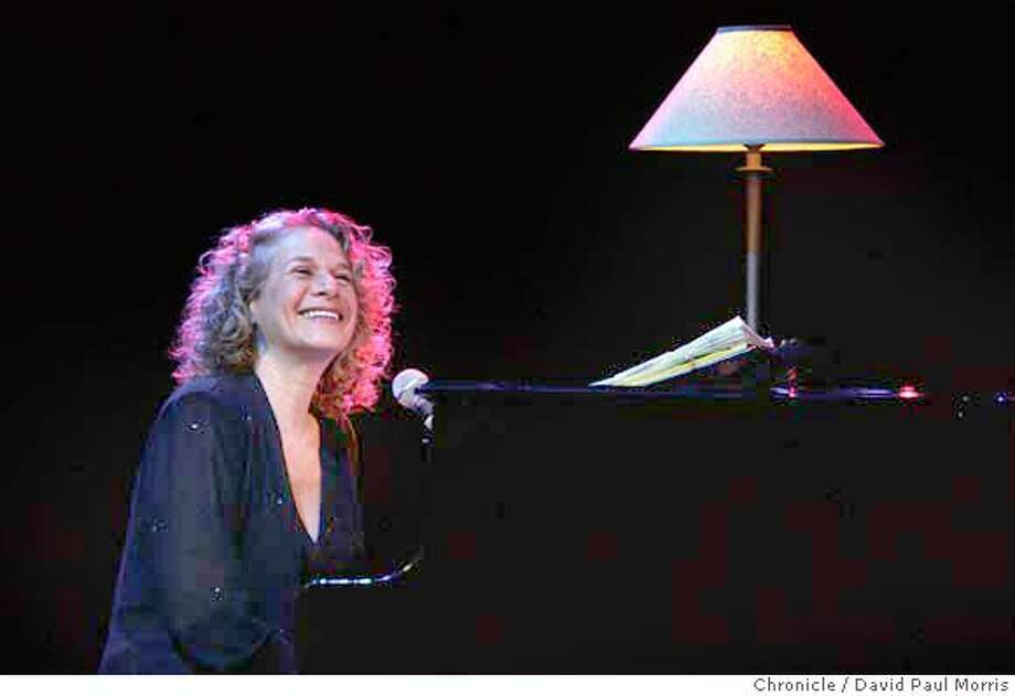 Carole King performs at the Masonic Auditorium in her first visit to the Bay Area in many years. She sang her greetings to the crowd. Chronicle photo by David Paul Morris