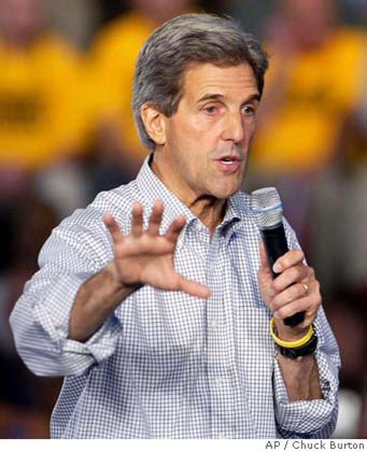 Democratic presidential nominee Sen. John Kerry, D-Mass., addresses supporters at Central Piedmont Community College in Charlotte, N.C., Friday Aug. 20, 2004. (AP Photo/Chuck Burton) Photo: CHUCK BURTON