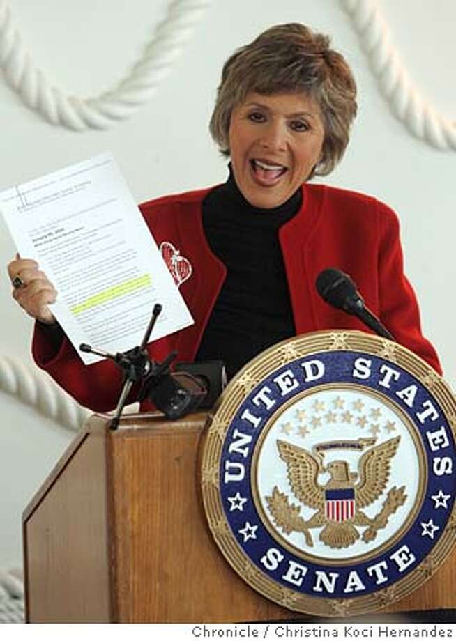 boxer12059_ckh.jpg  Sen. Boxer holds-up a leaked document from Republicans on Social Security.United States Senator Barbara Boxer will be at the San Francisco Senior Center in San Francisco at 10:15 a.m. on Friday, February 11, to give a major address on efforts to privatize Social Security and discuss the real motivation behind privatization.  City:� . .CHRISTINA KOCI HERNANDEZ/CHRONICLE Photo: CHRISTINA KOCI HERNANDEZ