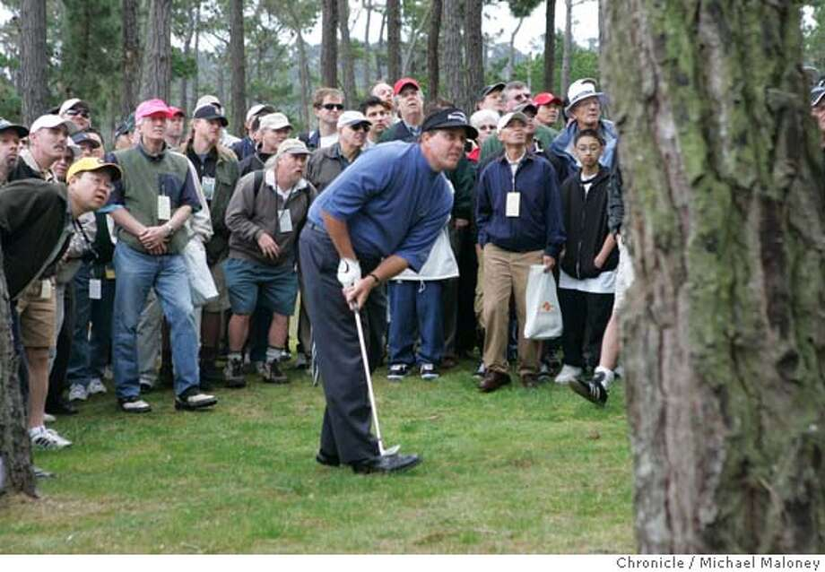 Phil Mickelson and spectators watch the flight of the ball as it shoots between two trees in a tough area off of the 13th fairway of Poppy Hills.  Second day of the AT&T Pebble Beach National Pro-Am Golf Tournament.  Photo by Michael Maloney / San Francisco Chronicle Photo: Michael Maloney