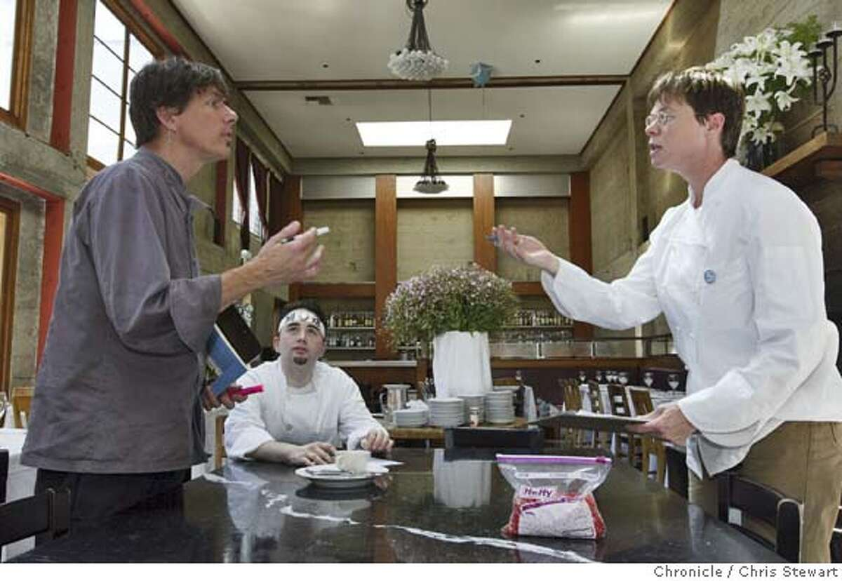 Event on 8/7/04 in San Francisco Foreign Cinema Restaurant owners, John Clark, 44, and Gayle Pirie, 40, prepare for dinner in their restaurant at 2534 Mission St., San Francisco. Chris Stewart / The Chronicle