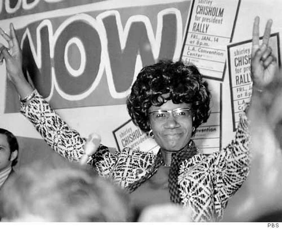 """CHISOLM12 Shirley Chisholm campaigning for president in 1972 in """"Chisholm '72 - Unbought & Unbossed."""" PBS pressroom Ran on: 02-12-2005  Shirley Chisholm entered the 1972 Democratic race to have her opinions heard. Ran on: 02-12-2005 Ran on: 02-12-2005"""
