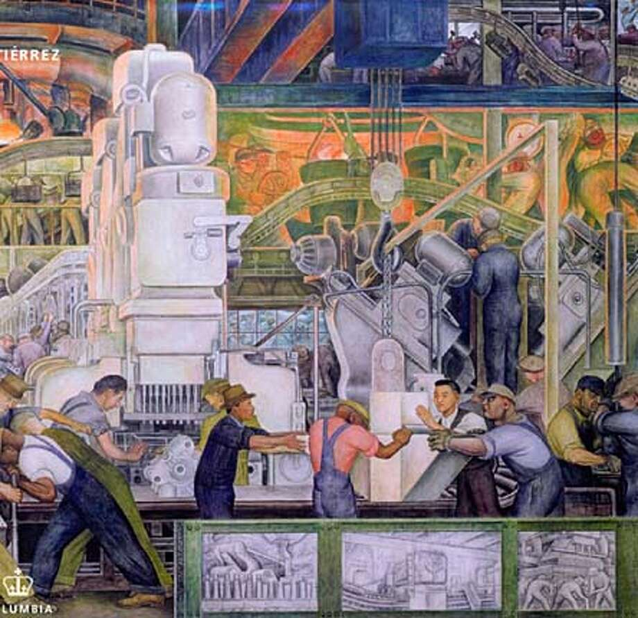 DETAIL OF A DIEGO RIVERA MURAL DEPICTING DETROIT INDUSTRY 1932-33