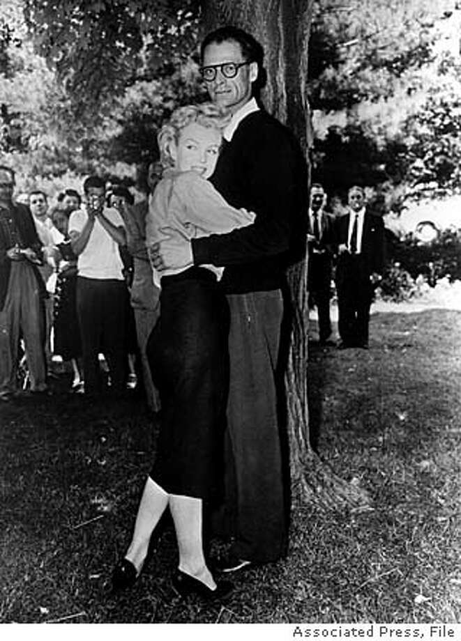 "**file**Actress Marilyn Monroe and playwright Arthur Miller embrace on the lawn of Miller's home in Roxbury, Conn., on June 29, 1956, several hours before they were married in White Plains, N.Y. Miller, the Pulitzer prize-winning playwright whose most famous fictional creation, Willy Loman in ""Death of a Salesman,"" came to symbolize the American Dream gone awry, has died, his assistant said Friday, Feb. 11, 2005. He was 89. Miller died Thursday evening, said his assistant, Julia Bolus. (AP Photo)"
