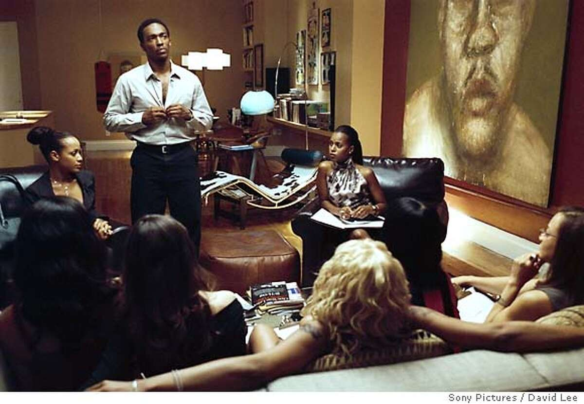"""3.jpg Top left: Dania Ramirez as Alex; Top center: Anthony Mackie as Jack; Top right: Kerry Washington as Fatima in """"She Hate Me."""" David Lee / Sony Pictures"""