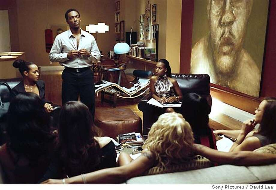"3.jpg Top left: Dania Ramirez as Alex; Top center: Anthony Mackie as Jack; Top right: Kerry Washington as Fatima in ""She Hate Me."" David Lee / Sony Pictures Photo: David Lee"