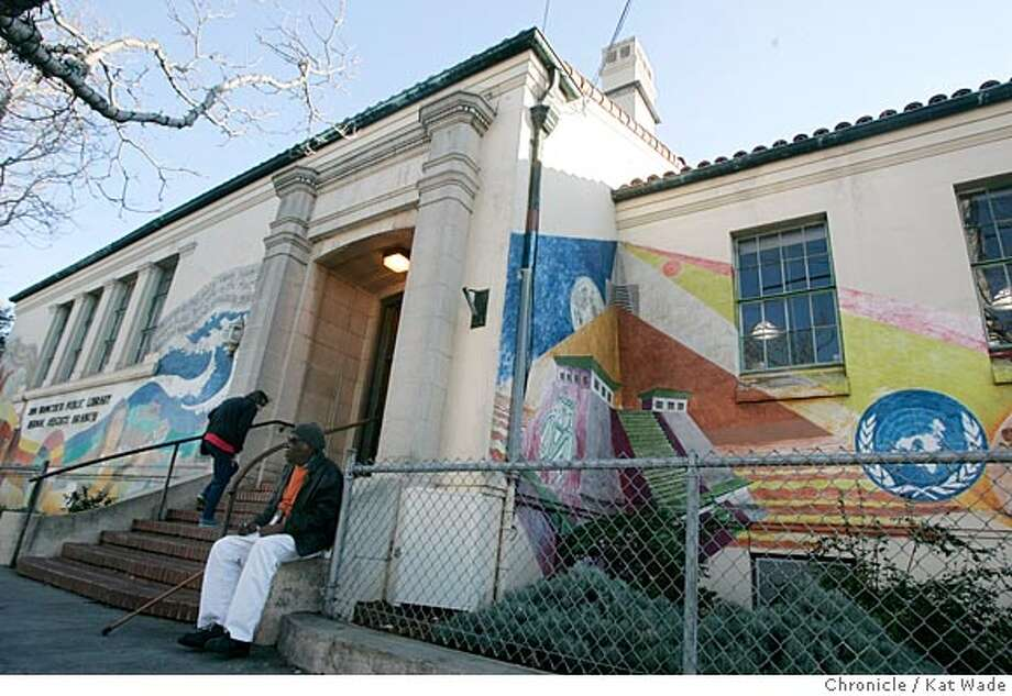 WBBERNAL_027_KW.jpg  On 2/3/05 in San Francisco(L to R) regular patron Jane Krivich walks up the steps while Walker Dunning sits outside of the mural covered 1940's-era Bernal Library in Bernal Heights neighborhoon on Courtland Avenue.  . Kat Wade / The Chronicle Photo: Kat Wade