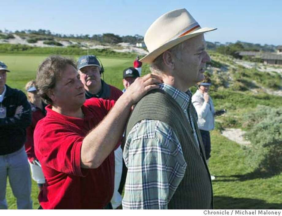 Comedian Bill Murray spotted his chiropractor Michael Gazdar (left) of Walnut Creek and asked for an adjustment on the 4th tee of Spyglass Hill.  Opening day of the AT&T Pebble Beach National Pro-Am Golf Tournament.  Photo by Michael Maloney / San Francisco Chronicle Photo: Michael Maloney