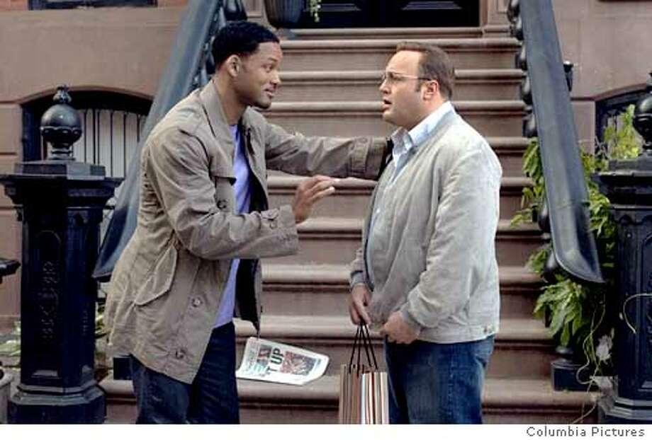"Will Smith and Kevin James in ""Hitch"" 2005 Ran on: 02-11-2005  Will Smith (left) steps out of his usual action hero character to give Kevin James romantic advice in the comedy &quo;Hitch.&quo; Ran on: 02-11-2005 Ran on: 02-11-2005 Photo: Barry Wetcher"