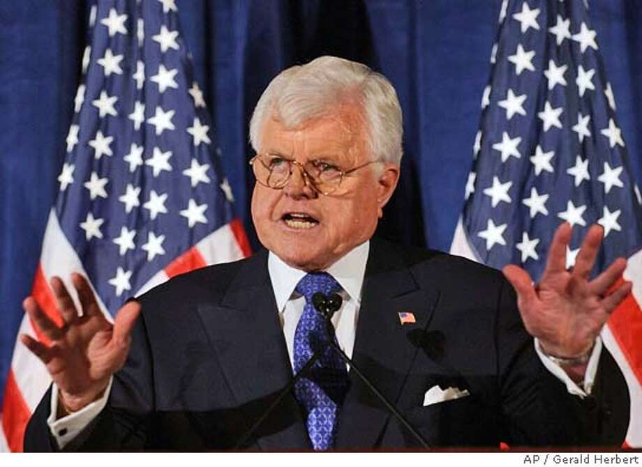 """Senator Ted Kennedy, D-Mass., speaks to the Center for American Progress in Washington Wednesday, Jan. 14, 2004. Kennedy assailed the Bush administration by saying """"this administration is indeed leading this country to a perilous place. It has broken faith with the American people, aided and abetted by a congressional majority willing to pursue ideology at any price, even the price of distorting the truth."""" (AP Photo/Gerald Herbert) Sen. Edward Kennedy said the Iraq war increased hatred for the United States abroad. ProductNameChronicle Photo: GERALD HERBERT"""