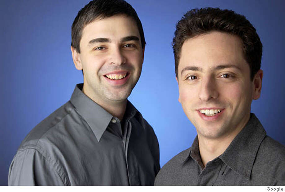 (NYT67) UNDATED -- August 9, 2004 -- GOOGLE-IPO -- . Larry Page, left, and Sergey Brin, the co-founders of Google, are trying to take their company public this year. Ran on: 08-11-2004  Google founders Larry Page (left) and Sergey Brin. XNYZ Photo: GOOGLE