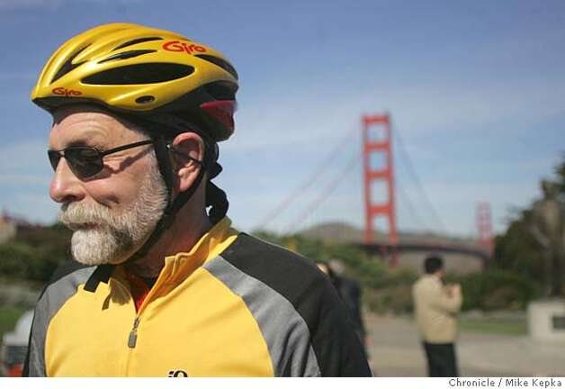 bridge017_mk.jpg Jim Stifter of san Francisco often rides his bike across the Golden Gate Bridge.  Pedestians and bike riders talk about the possability of a toll to cross the Golden Gate bridge even if you are not in a car.  Mike Kepka / The Chronicle MANDATORY CREDIT FOR PHOTOG AND SF CHRONICLE/ -MAGS OUT Photo: Mike Kepka