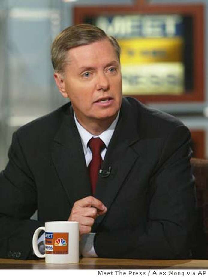 "Sen. Lindsey Graham, R-S.C., talks about the Iraq prisoner abuse scandal during the taping of ""Meet the Press"" at the NBC studios Sunday, May 9, 2004, in Washington. (AP Photo/Meet The Press, Alex Wong) ProductName	Chronicle ProductName	Chronicle NO ARCHIVE BEFORE MAY 16, 2004 MUST CREDIT ""MEET THE PRESS"") Photo: ALEX WONG"