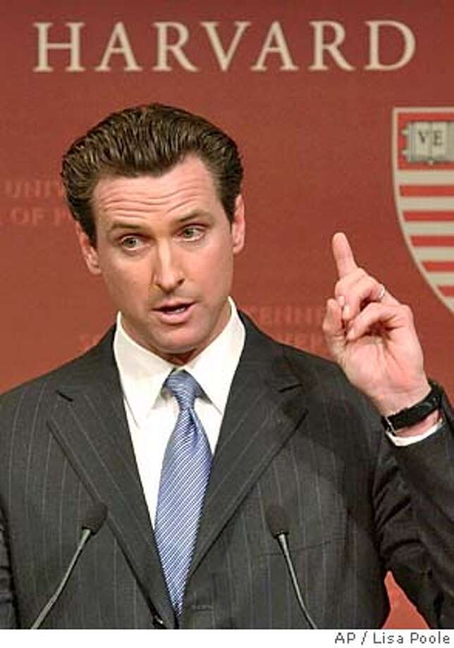 "San Francisco Mayor Gavin Newsom speaks during a forum titled ""Same Sex Marriage and Equality in America,"" at Harvard University's Kennedy School of Government, Tuesday, Feb. 8, 2005 in Cambridge, Mass. (AP Photo/Lisa Poole) Photo: LISA POOLE"