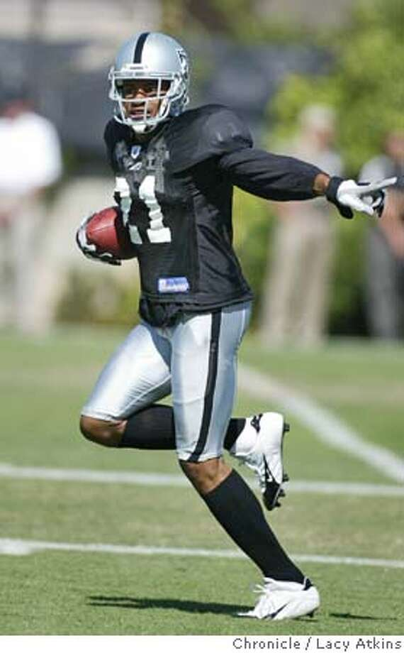 Raiders cornerback Nnamdi Asomugha during practice at Oakland Raider training camp Aug. 4, 2004 in Napa. LACY ATKINS / The Chronicle Photo: LACY ATKINS