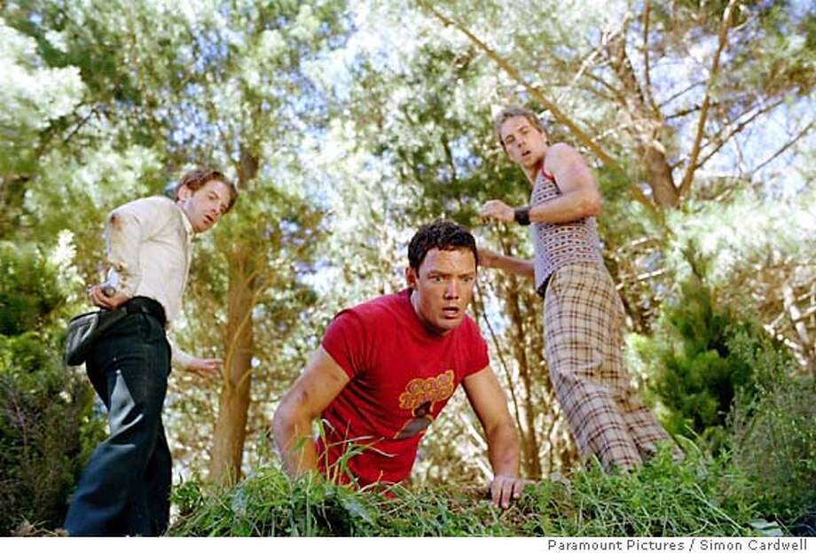 "(Left to right) Seth Green as Dan, Matthew Lillard as Jerry and Dax Shepard as Tom, are friends from the city who find that their canoeing experience goes wrong in ""Without A Paddle."" (Paramount Pictures / Simon Cardwell) Photo: SIMON CARDWELL"