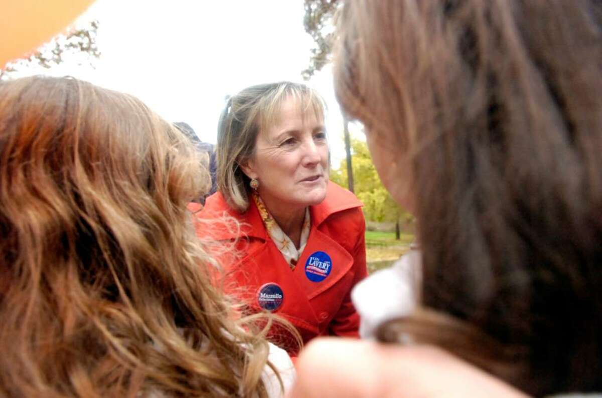Democratic candidate for First Selectman Lin Lavery greets young supporters Jessica, 9, and Joanna Cabrera, 7, during the get-out-the-vote rally at Armstrong Court in Greenwich, CT Saturday afternoon, Oct. 31, 2009. Lavery is facing incumbent Peter Tesei in the hotly contested First Selectman race and Democrat Drew Marzullo is running against Republican David Theis for the Selectman position.