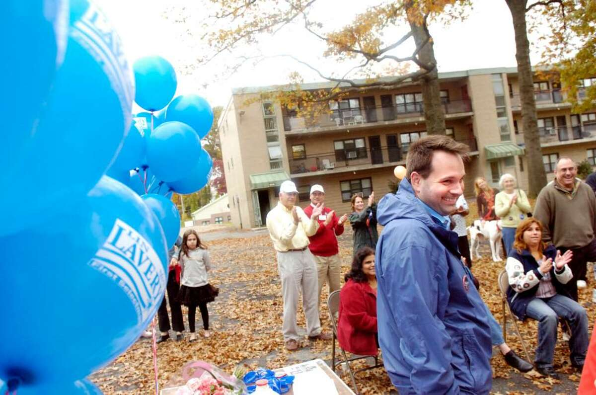 Democratic candidate for Selectman Drew Marzullo takes center stage during the get-out-the-vote rally at Armstrong Court in Greenwich, CT Saturday afternoon, Oct. 31, 2009. Democrat Lin Lavery is facing incumbent Peter Tesei in the hotly contested First Selectman race and Democrat Drew Marzullo is running against Republican David Theis for the Selectman position.