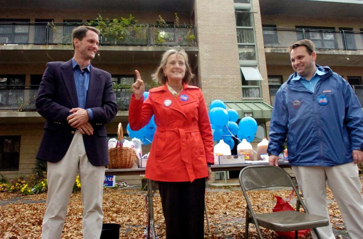 Democratic Congressman Jim Himes, left, shows his support for local Democratic candidates Lin Lavery and Drew Marzullo during the Democrats get-out-the-vote rally at Armstrong Court Saturday afternoon, Oct. 31, 2009. Lavery is facing incumbent Peter Tesei in the hotly contested First Selectman race and Marzullo is running against Republican David Theis for the Selectman position.