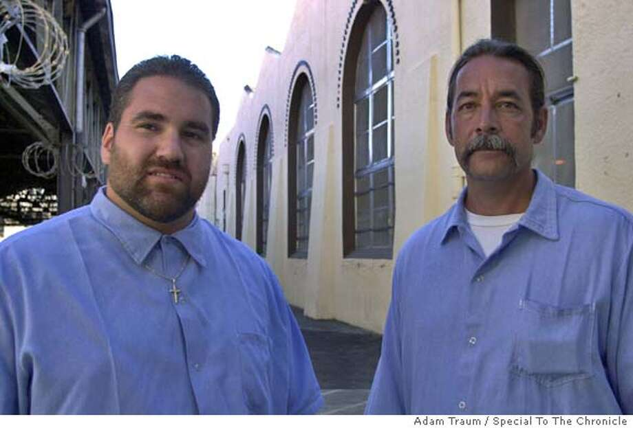 San Quentin inmates Leonard Rubio, left, Andy Leavitt and Antonio Malinar (not pictured), won first prize in the industrial crafts and group project catagories in a state fair vocational school competition. It's a prime example of a prison vocational program at a time when the state is drastically cutting back on prison work programs to save money.  San Quentin on 8/19/04 by Adam Traum Photo: Adam Traum