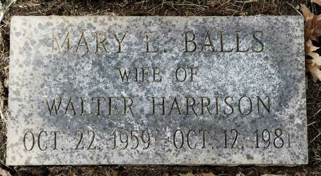 The grave marker of Mary Balls Harrison in the Northford Cemetery, North Branford, Conn., Thursday, Jan. 26, 2011. Harrison, a Greenwich native, was found murdered on Oct. 30, 1981, in the Town of Hinsdale, N.H. Photo: Bob Luckey / Greenwich Time