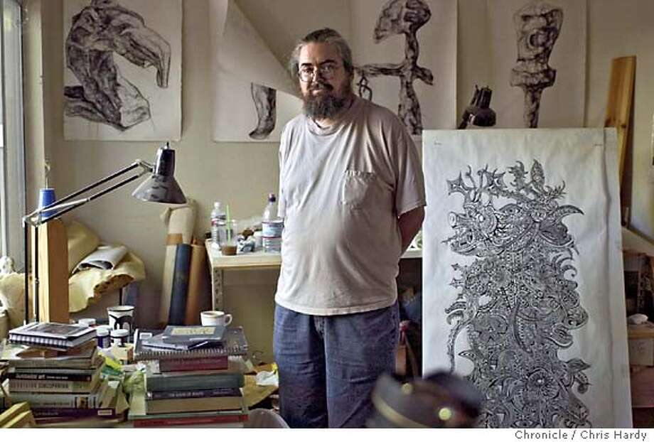 """John Cadigan, a Palo Alto printmaker and artist made a documentary about his schizophrenia, with his sister Katie's help. """"People Say I'm Crazy"""" Event on 8/4/04 in Palo Alto.  Chris Hardy / San Francisco Chronicle Photo: Chris Hardy"""