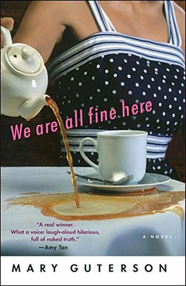 "Book cover art for, ""We are all fine here"" by Mary Guterson."