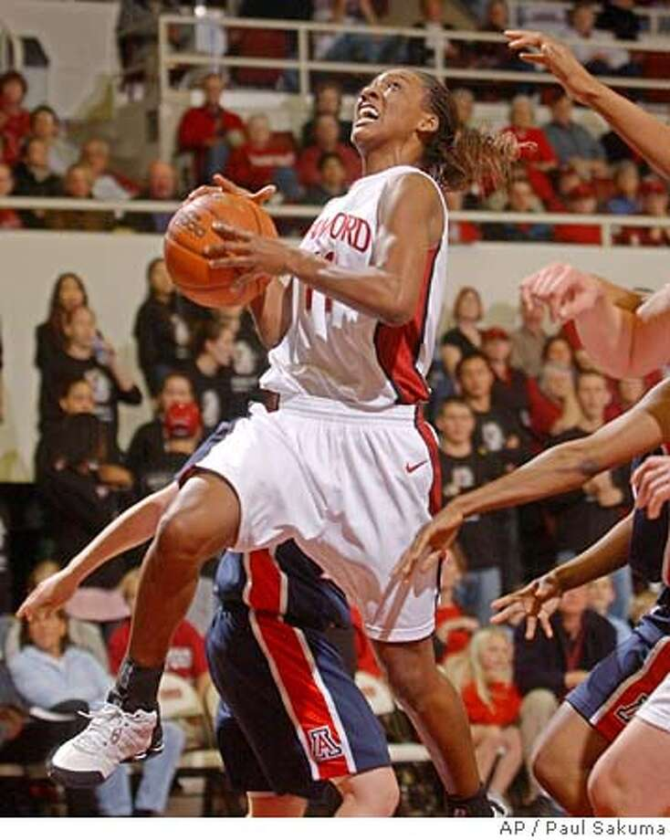 Stanford guard Candice Wiggins goes up for two points against Arizona in the first half, Thursday, Feb. 3, 2005, in Stanford, Calif. (AP Photo/Paul Sakuma) Photo: PAUL SAKUMA