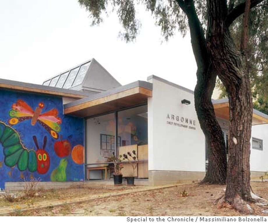 "Argonne Child Development Center is a four classroom school for preschool children, designed by Richard Parker and David Bushnell of 450 Architects for the SF Unified School District. The school, near Golden Gate Park, is the first ""green"" school in the district."