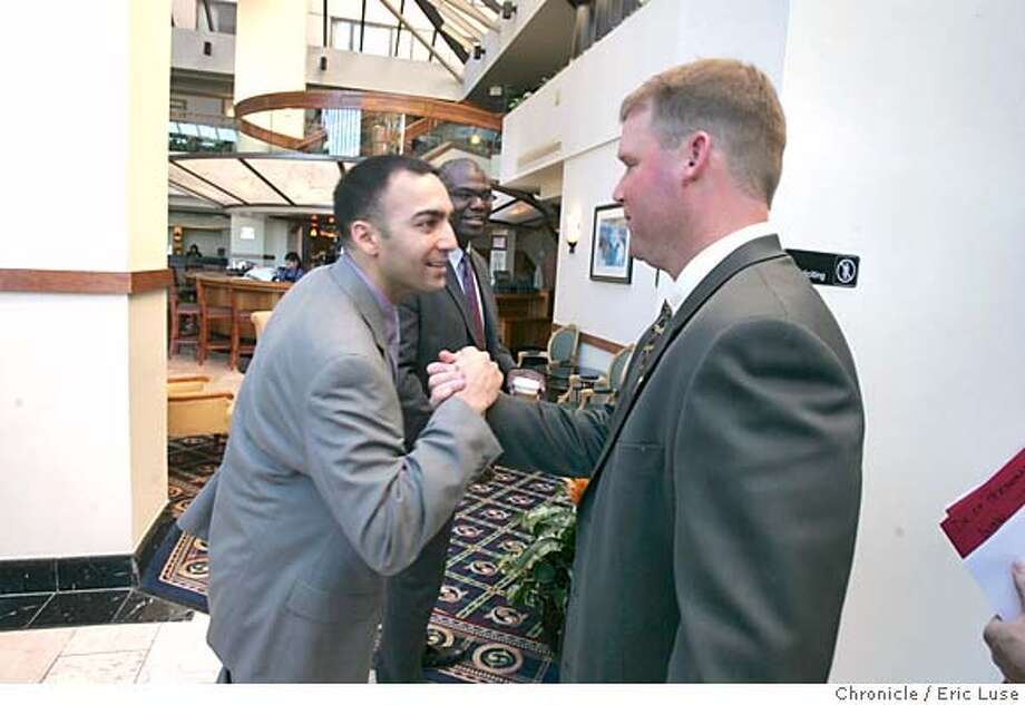 mccloughan_0117_el.jpg San Francisco 49er Paraag Marathe, Assistant to the General Manager, welcomes San Francisco 49ers Scot McCloughan, newly named vice president of player personnel  Event on 2/2/05 in Burlingame Eric Luse / The Chronicle Photo: Eric Luse
