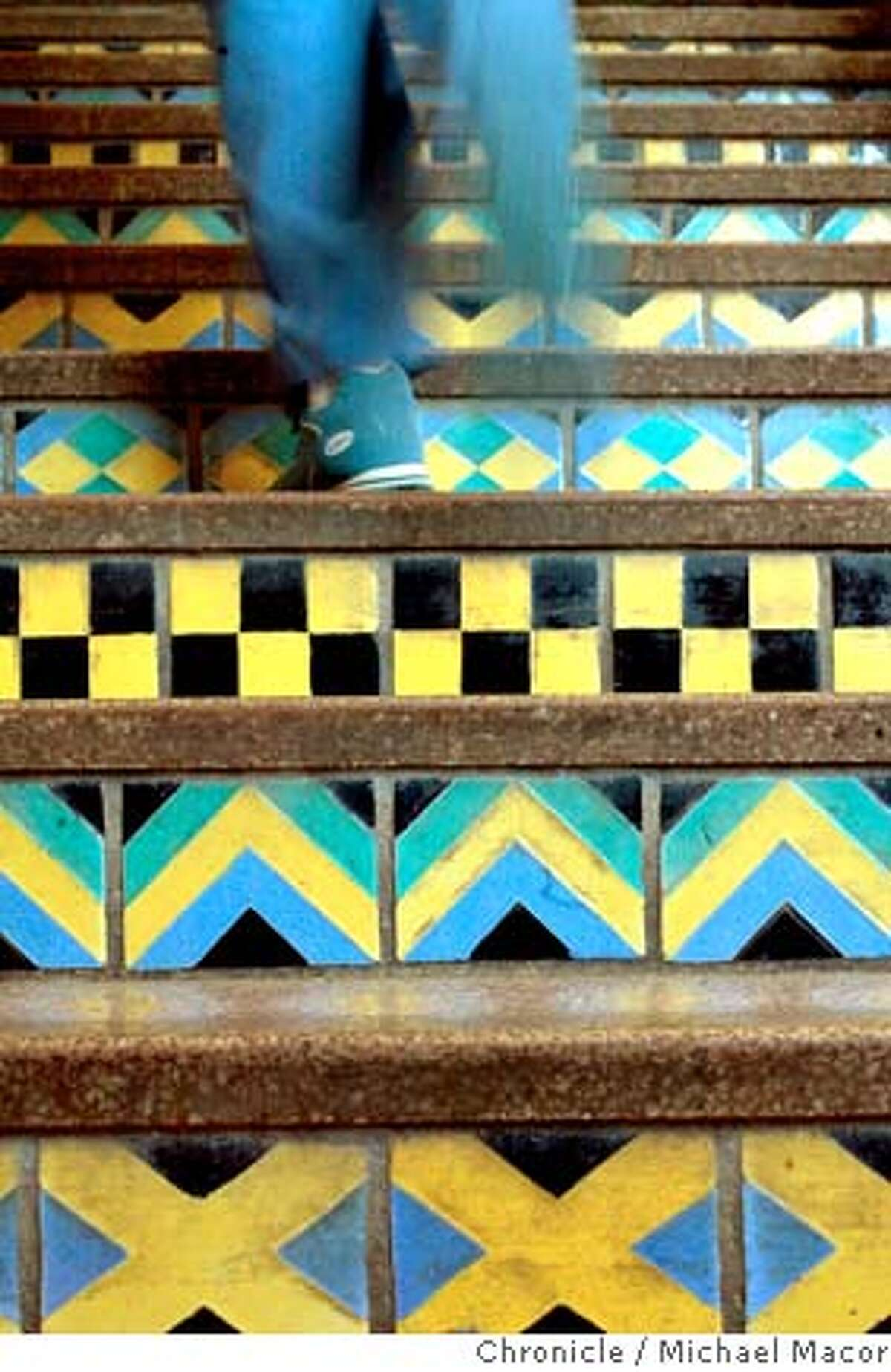Blue tile steps lead up to the library building at Balboa High School. Chronicle photo by Michael Macor