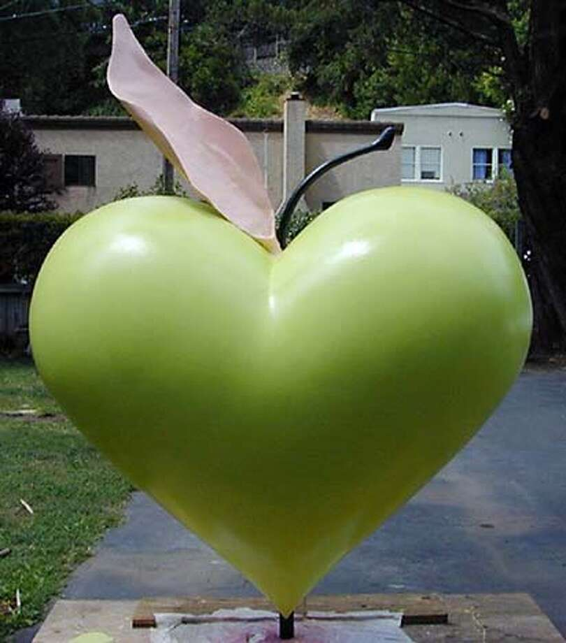 "Carl and Marie Dern's ""SF Love Apple,'' part of the Hearts in San Francisco art project. It's at Grace Cathedral"