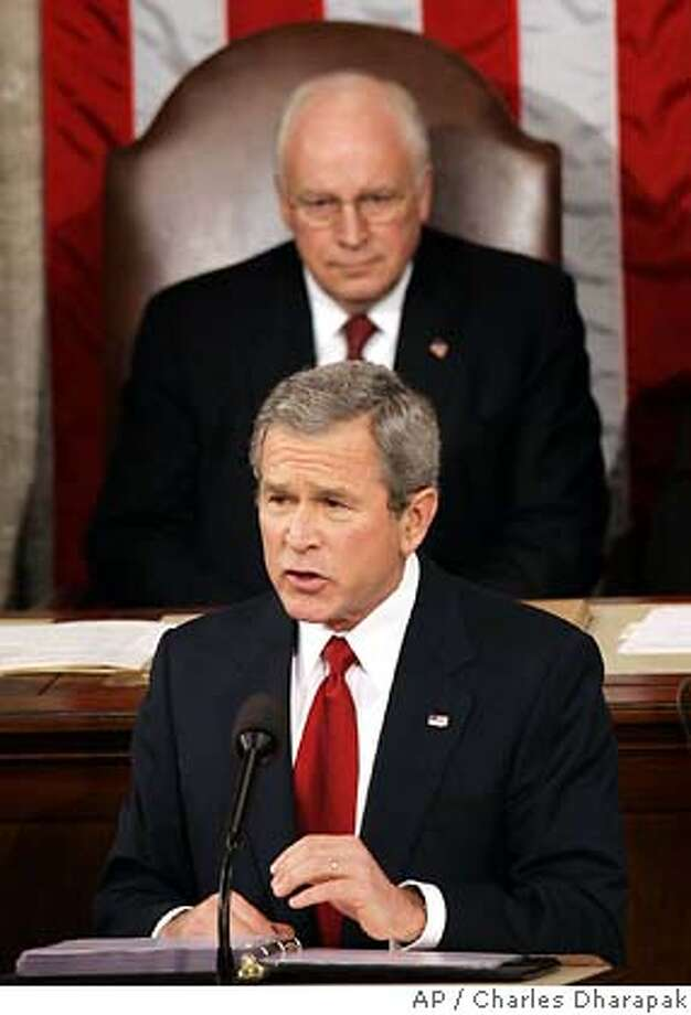 President Bush delivers the State of the Union address Wednesday, Feb. 2, 2005, at the Capitol in Washington.Vice President Cheney is seen behind. (AP Photo/Charles Dharapak) Photo: CHARLES DHARAPAK