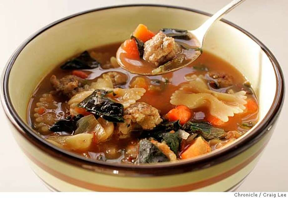 Wine pairing recipe for Sonoma County AVA Merlots. Photo of Vegetable-Pasta Soupy Stew. Food photo styled by Noel Advincula.  Event on 12/23/04 in San Francisco. Craig Lee / The Chronicle Photo: Craig Lee