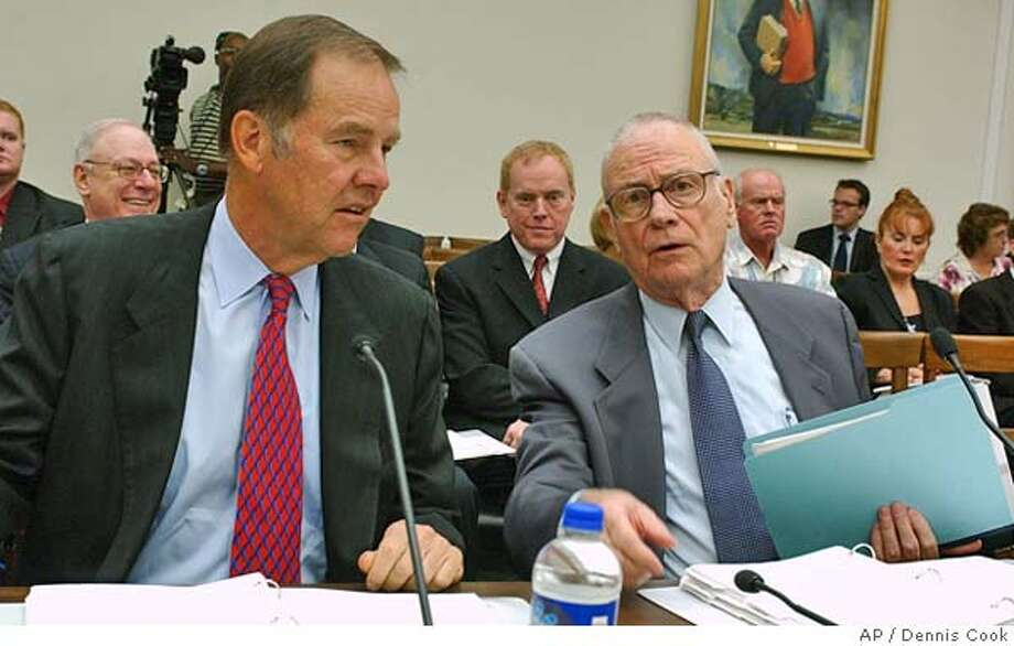 Sept. 11 Commission Chairman Thomas Kean, left, and Vice Chairman Lee Hamilton appear on Capitol Hill Wednesday, Aug. 11, 2004, as the House Select Intelligence Committee continues hearing on the commission's final report. (AP Photo/Dennis Cook) Photo: DENNIS COOK