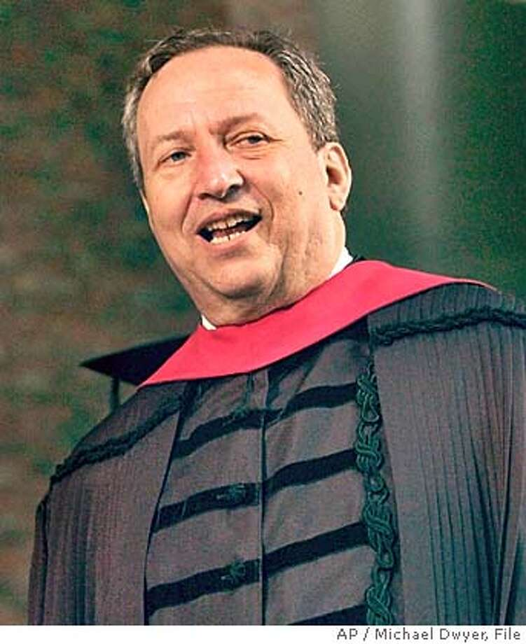 """**FILE** Harvard University President Lawrence Summers is shown during Harvard's 353rd commencement ceremonies, in this June 10, 2004, file photo in Cambridge, Mass. Summers is being criticized for saying that women lack the """"natural ability"""" to do as well as men in science and engineering. People who attended a conference with Lawrence Summers in January 2005 say he also questioned how great a role discrimination plays in keeping female scientists and engineers from advancing. (AP Photo/Michael Dwyer, File) JUNE 10, 2004 FILE PHOTO Photo: MICHAEL DWYER"""