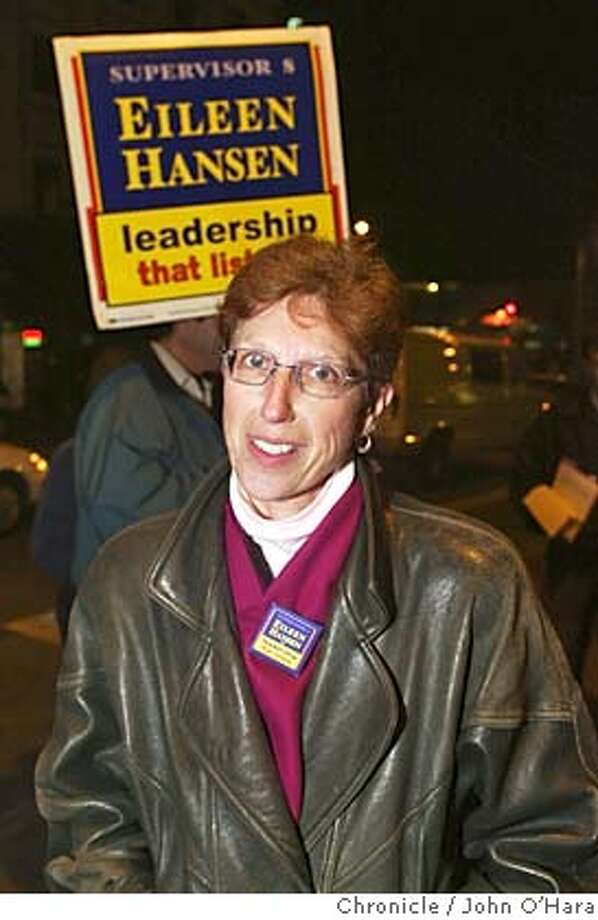 Bart station 16th and mission Sts. San francisco.  Eileen Hansen a run off candidate for district 8  photo/John O'hara