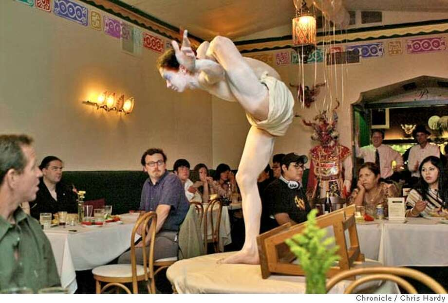 North Beach fund-raiser for Shocktoberest 2004 (a festival in Oct-Nov. featuring three Grand Guignol plays from 1920s Paris) offers performances by contortionist Fleeky Flanco, and a bunch of others. Event on 8/8/04 in San Francisco.  Chris Hardy / San Francisco Chronicle Photo: Chris Hardy
