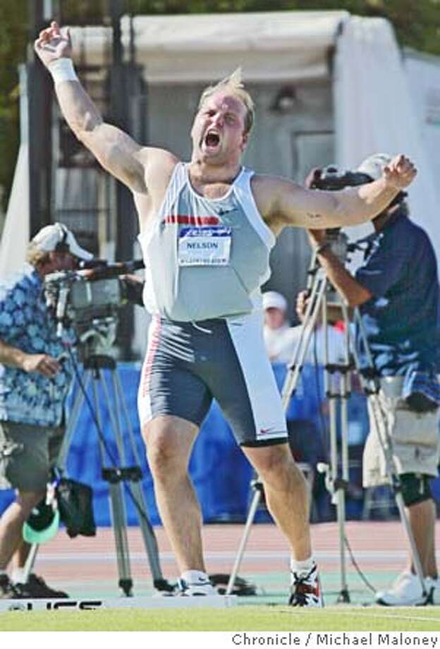 Men's Shot Put Final : Winner Adam Nelson reacts after a 71-00.00 toss.  U.S. Olympic Team Trials - Track and Field competition at the Alex G. Spanos Sports Complex in Sacramento.  Photo by Michael Maloney / San Francisco Chronicle Photo: Michael Maloney