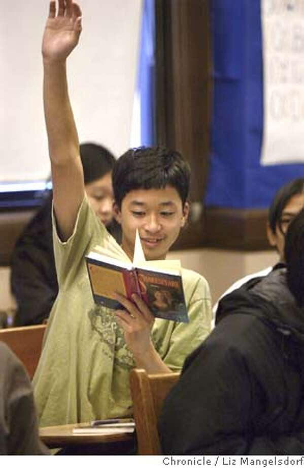 balboa27_304_lm.JPG Event on 1/26/05 in San Francisco.  Balboa 9th grader Kamal Nguyen raises his hand to discuss Shakespear's Romeo and Juliet during 9th grade World Lit Honors class.  Story on Balboa High School, and their work to get more students into Advanced Placement courses. They start in 9th and 10th grade with honor courses to prepare students for AP.  Liz Mangelsdorf / The Chronicle MANDATORY CREDIT FOR PHOTOG AND SF CHRONICLE/ -MAGS OUT Photo: Liz Mangelsdorf