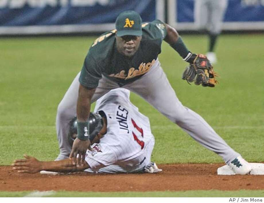 Minnesota Twins' Jacque Jones tries to break up the double play in the third inning Monday, Aug. 9, 2004 in Minneapolis as Oakland Athletics second baseman Mark McLemore watches his successful relay to first for the doouble on Twins' Henry Blanco. (AP Photo/Jim Mone) Photo: JIM MONE